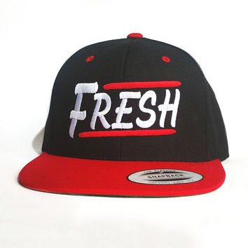 Fresh Snapback - Black and Red Snapback cap with Urban design embroidered