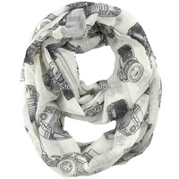 Vintage Camera Print Infinity Scarf Cowl Circle Accessories Gift for Ladies, Free Shipping