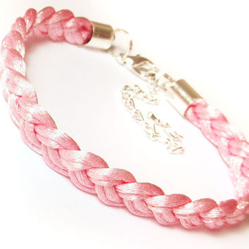 Braided plaited woven rope cord bracelet with macrame knot baby pink pastel china pink rose bubble gum