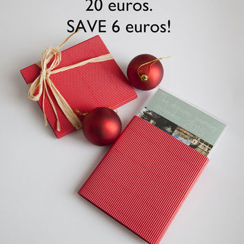 SALE, set of two 2015 desk calendar, display case, christmas gift, photo calendar, mini calendar, landscape, jewel case, Italy, France