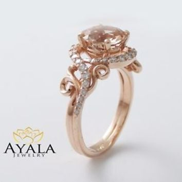 14K Rose Gold Engagement Ring Rose Gold Morganite Ring Peach Pink Morganite Ring