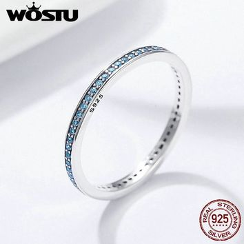 WOSTU Authentic 925 Sterling Silver BlueCubic Zirconia Design Minimalist Simple Stackable Finger Rings for Women Fine BKR229