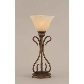 Toltec Lighting 31-BRZ-503 Swan Bronze One-Light Table Lamp with Amber Marble Glass Shade