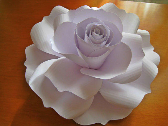 Giant White Paper Rose White Paper From Thepurpledream On