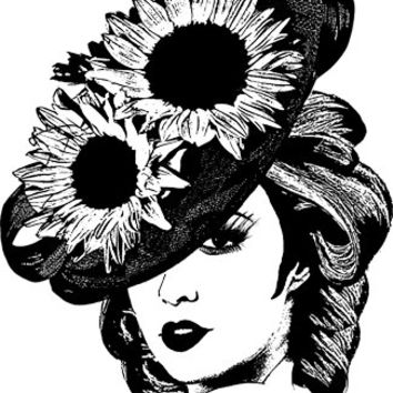 ladies sunflower hat clipart png clip art derby hat Image digital Download art graphics fashion illustration printables digital stamp
