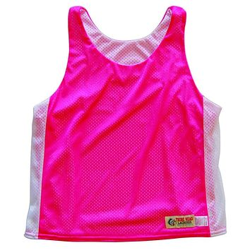 Womens Neon Pink and White Racerback Pinnie