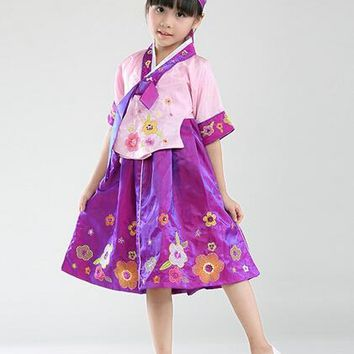 Yukata Traditional Japanese Kimonos Color Children Hanbok Dress Baby Girls Infant Korean Princess National Costumes Flower Girl