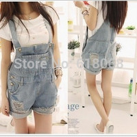 HOT!!New Arrival 2016 Spring&Autumn Women's Denim Overalls Torn Loose Cowboy Short Hot Pants Casual Denim Shorts Plus Size S~XL