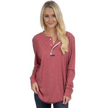 Long Sleeve Boyfriend Tee in Heathered Red by Lauren James - FINAL SALE