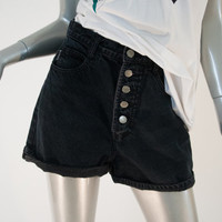 90s vintage black faded denim button up shorts, high rise waist waisted 1990s 1980s 80s fashion clothing , spring 2014 retro retrofit urban