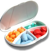 Pocket VitaCarry Pill Box w/4 Compartments Holds 16 Pills, color may vary