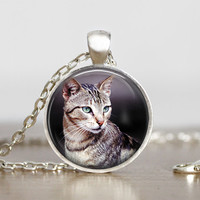 cat necklace, cat pendant, animal necklaces, cat mom jewelry, custom pendants with cats, round silver glass pendants, cat adoption gifts
