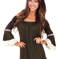 Drive Slow Olive Off Shoulder Tunic | Monday Dress Boutique