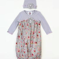 Baby Loo Gray Floral Gown & Beanie | zulily
