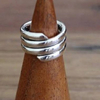 Sterling Silver Snake Coil Wrap Ring, Mothers Day Gift
