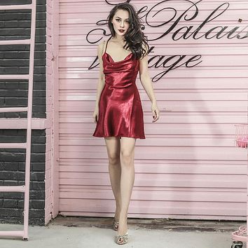 Le Palais Vintage's Liquid Ruby Red Mini Spaghetti Strap Dress