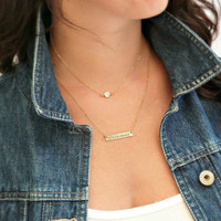 Personalized Bar Necklace Set of 2 Gold Layered Necklace Gold CZ Crystal Bridesmaid Gift Layering Jewelry Gift for her Personalized Necklace