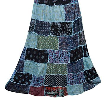 Mogul Interior Womens Long Skirts Vintage Ethnic Printed Flowy Hippie Patchwork Skirts M: Amazon.ca: Clothing & Accessories