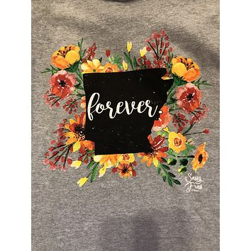SALE Sassy Frass Arkansas Forever Flowers AR State Design Girlie Long Sleeve Bright T Shirt