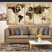 Sepia wall art push pin World map canvas print framed extra large wall art for living room, world travel map wall deal, sepia world map multi panel 5 pieces hr120