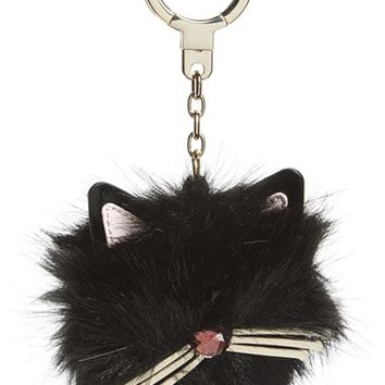 kate spade new york 'cat pouf' faux fur bag charm | Nordstrom