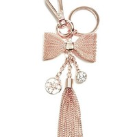 Rose Gold-Tone Mesh Bow Keychain at Guess
