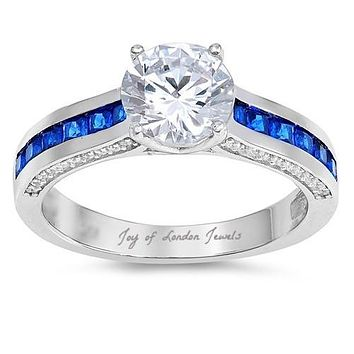 A Perfect 1.8CT Round Cut Solitaire Russian Lab Diamond Channel Set Blue Sapphire Ring