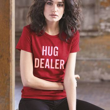 Hug Dealer Letters Print Women Tshirt Cotton Casual Funny T Shirt for Lady Top Tee Hipster Tumblr Summer Fashion Graphic Tees
