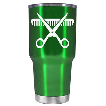 HairStylist Scissor and Comb Silhouette on Translucent Green 30 oz Tumbler Cup