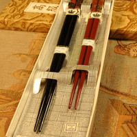 Set of 2 Vintage Chopsticks His and Hers Red and Black Design Unused Original Box Made in Japan ~ Free Shipping