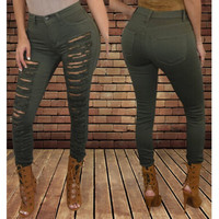 Fashionable Mid-Waisted Solid Color Skinny Ripped Jeans For Women