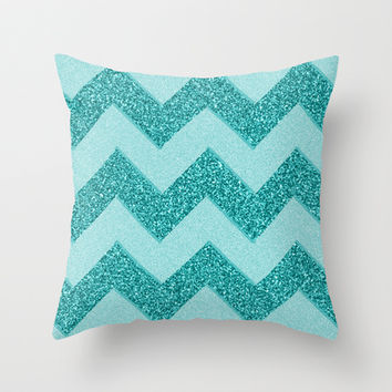 Chevron Frost Throw Pillow by Alice Gosling
