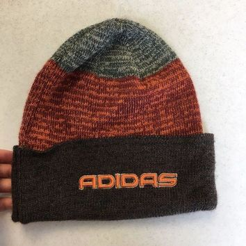 ESBONC. BRAND NEW ADIDAS BROWN AND ORANGE WINTER KNIT HAT SHIPPING