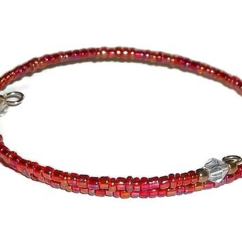 Red Carnival Glass Beaded Artisan Crafted Stackable Wrap Bracelet (XS-S)