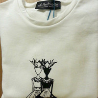 My Deer Maids sweatshirt, black and white sweatshirt, deers blouse