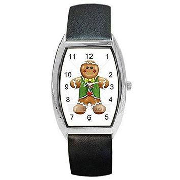 Christmas GingerBread Man w/ Vest on a Womens Barrel Watch with Leather Band