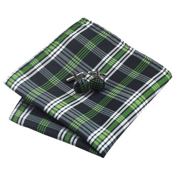 B-906 Men Ties Yellowgreen Plaid Silk Jacquard Tie Hanky Cufflinks Gift Box Bag Sets Ties For Men We