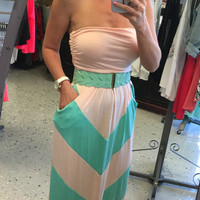 Chevron Pocket Maxi Dress