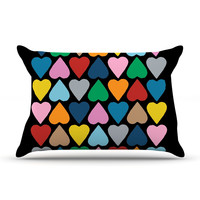 "Project M ""Up and Down Hearts on Black"" Pillow Case"