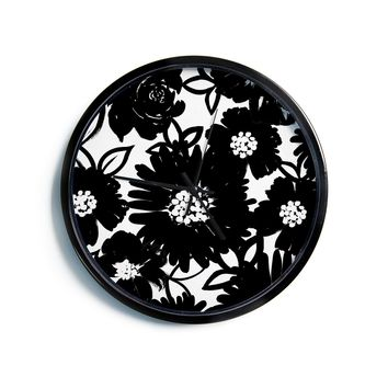"Emine Ortega ""Monochromatic Blooms"" Black White Modern Wall Clock"