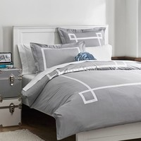 Ribbon Trim Duvet Cover + Sham, Light Grey
