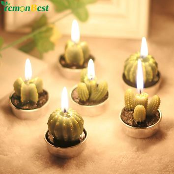 6Pcs Cactus Candles Simulation Plant Candle Home Decorative Artificial Green Plant Candles For Birthday Wedding Party Decoration