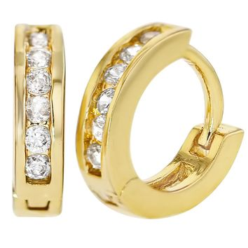 """18k Gold Plated Clear Small Hoop Earrings Children's Kids Toddlers 0.39"""""""