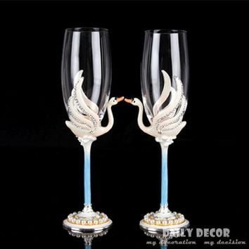 Lead-free crystal glass rhinestone bride and groom wedding wine cup wedding