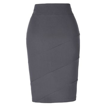 Bandage Skirt Womens Summer 2017 Sexy Paneled Grey Blak Slim Midi Saia Business Work Office Falads Empire Sheath Pencil Skirts