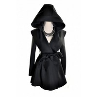 Hooded Belted Peacoat Black