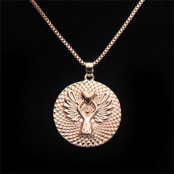 s GUARDIAN ANGEL PROTECT ME Double-faced Guardian Angel Pendant Necklace collar chain Gold Silver Colors SM6
