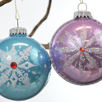 Kugelgruss Christmas Ornaments Round Light Blue & Lavender Purple