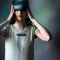 Сomet wooden chain necklace, emerald green faceted minimalist necklace, wood and chains jewelry