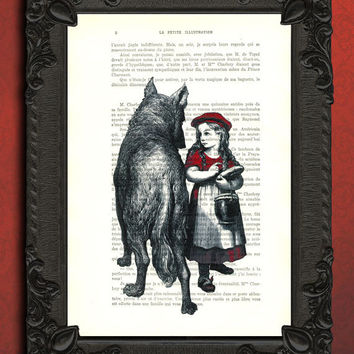 Little RED RIDING HOOD art - little red riding hood art print - vintage home decor dictionary print - book page print - recycled upcycled